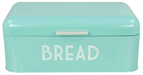Home Basics Grove Bread Box For Kitchen Counter Dry Food Storage Container, Bread Bin, Store Bread Loaf, Dinner Rolls, Pastries, Baked Goods & More, Retro Vintage Design, Turquoise