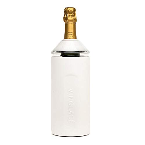 Vinglac Wine Bottle Insulator | Stainless Steel | Double Walled | Vacuum Insulated | Tritan Plastic Adjustable Top | Keeps Wine & Champagne Cold for Hours | 10' x 11' x 12' | White