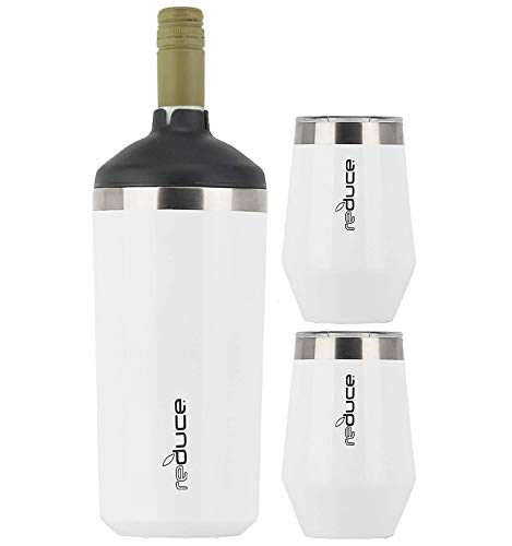 Reduce Wine Cooler Set - Stainless Steel Wine Bottle Cooler Set with 2 12oz Insulated Wine Tumblers - Keep Wine at the Perfect Temperature, No Ice Required, Fits Most Wine Bottles - White