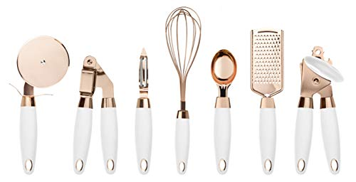 COOK With COLOR 7 Pc Kitchen Gadget Set Copper Coated Stainless Steel Utensils with Soft Touch White Handles