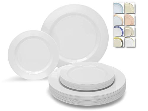 ' OCCASIONS' 240 Plates Pack,(120 Guests) Wedding Heavyweight Wedding Party Disposable Plastic Plates Set -120 x 10.5'' Dinner + 120 x 7.5'' Salad/Dessert Plate (Plain White)