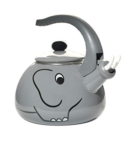HOME-X Gray Elephant Whistling Tea Kettle, Animal Teapot, Kitchen Accessories and Dcor