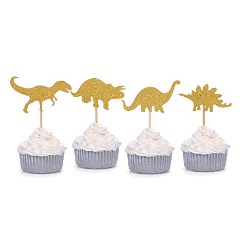 24 Counts Gold Glitter Dinosaur Cupcake Toppers Kid's First Birthday Party Decorations
