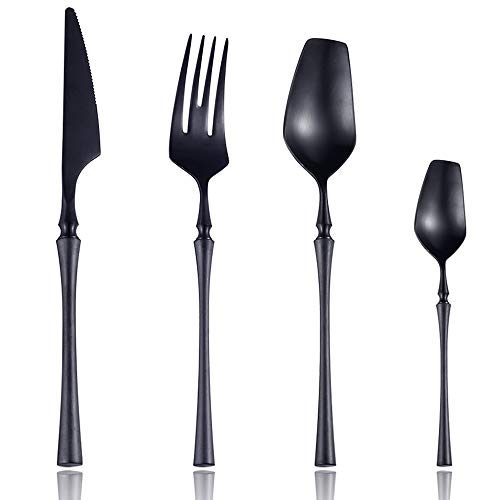 Lemeya 24-Piece 18/10 Stainless Steel Matte Black Silverware Luxury Flatware Cutlery Set Service for 6 Include Knife Fork Spoon Dishwasher Safe (Black)