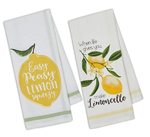 Design Imports DII Set of 2 Lemon Themed Dishtowels with Petite Stripe