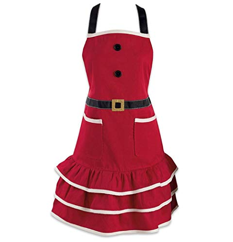 DMtse Santa Christmas Kitchen Apron with Pocket and Extra Long Ties, 31 x 25.5 inch Cute Women Cotton Ruffle Apron for Christmas Mrs. Claus