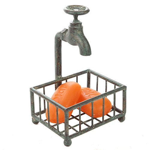 Lily's Home Vintage Rustic Bar Soap or Kitchen Sponge Holder, Basket Style with Country Design Crafted from an Old Spigot and is Ideal for Any Whimsical Dcor Style, Green Patina