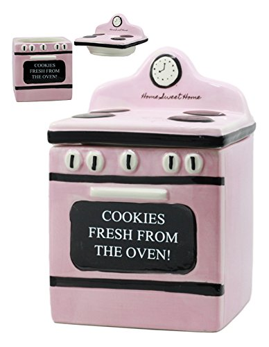 Ebros'Cookies Fresh From Oven!' Ceramic Vintage Pink Oven Cookie Jar With Seal Tight Lid Decorative 7.25'Tall Kitchen Accessory Figurine