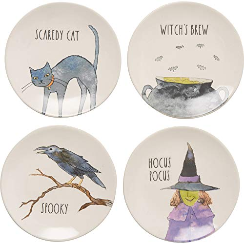 Rae Dunn Halloween Hauntings 'Scaredy Cat, Witch's Brew, Spooky, Hocus Pocus' Plate Set of 4 Appetizer Dessert Plates