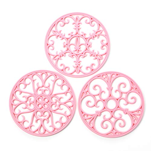 Silicone Trivet Mat - Non-Slip & Heat Resistant Kitchen Hot Pads for Countertops & Table - Kitchen Trivets for Hot Dishes & Cookware - Hot Pot Holder for Pots & Pans - Pink,Set of 3