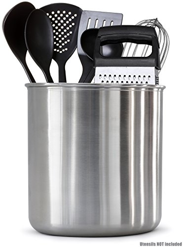 Estilo Stainless Steel Utensil Holder, Jumbo-7 x 7 inches
