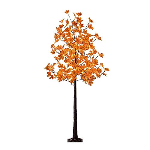 LIGHTSHARE LED Lighted Maple Tree - Dotted with 120 Warm White LED Lights, 5.5 ft, Orange