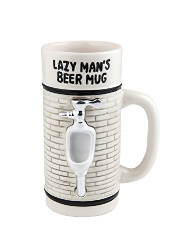 BigMouth Inc Lazy Man's Beer Mug, White Ceramic Beer Mug, Novelty Joke Beer Holder