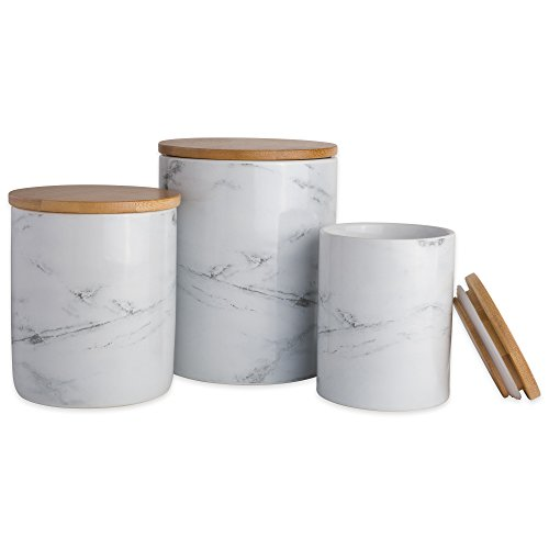 DII CAMZ38970 3-Piece Modern Ceramic Kitchen Canister with Airtight Bamboo Lid for Food Storage, (Assorted Sizes: 4.5x4.5x5.5, 4x4x4.5, 3x3x4), White Marble
