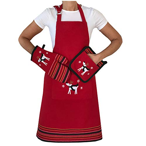 Lintex Whimsical Reindeer Christmas Apron, Pot Holder and Oven Mitt Set - Red and Green Stripe Xmas Holiday Cotton Apron and Heat Resistant Oven Mitt and Pot Holder Set, 3 Piece Unisex Apron Set