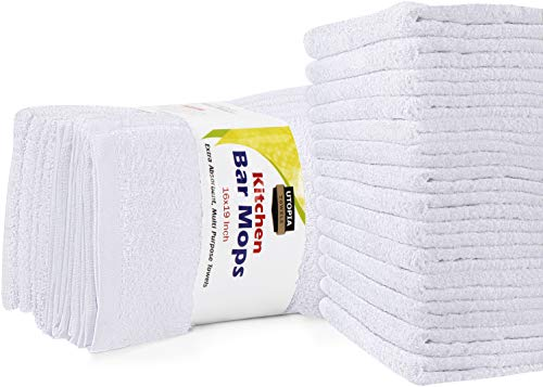 Utopia Towels 12 Pack Kitchen Bar Mops Towels,16 x 19 Inches, White Bar Towels and Cleaning Towels