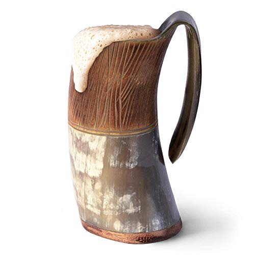 Norse Tradesman Genuine Viking Drinking Horn Mug - 100% Authentic Flame Treated Beer Horn Tankard w/Intricate Engravings |'The Jarl', Large
