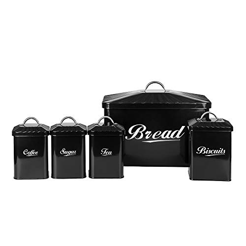 Hot Sale X649 Black Metal Home Kitchen Gifts Bread Bin/Box/Container Biscuit Tea Coffee Sugar Tin Canister Set (Black)