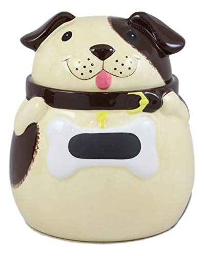 Ebros Ceramic Adorable Fat Puppy Dog With Brown Eye Patch Cookie Jar 7.25'Tall Decorative Kitchen Accessory Figurine As Decor of Dogs Puppies With Painted Bone Collar