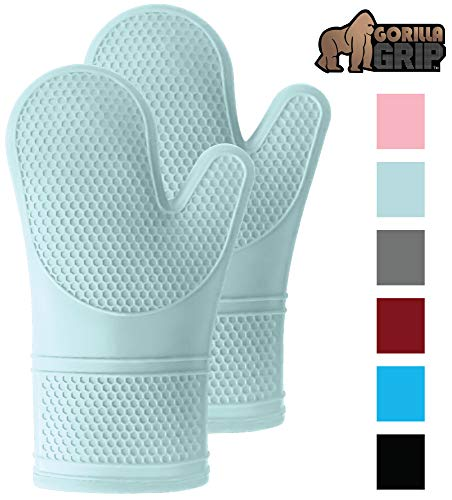 Gorilla Grip Premium Silicone Slip Resistant Oven Mitt Set, Soft Flexible Oven Gloves, Heat Resistant Kitchen Cooking Mitts, Protect Hands from Hot Surfaces, Cookie Sheets, Mint Green Pair, Set of 2