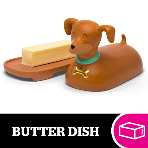 BigMouth Inc. Weiner Dog Ceramic Butter Dish  Hilarious and Fun Kitchen Accessories  Measures 7.25 x 6.75 x 5 - Makes a Great Gift Idea for Housewarming Parties, Holidays, and Birthdays