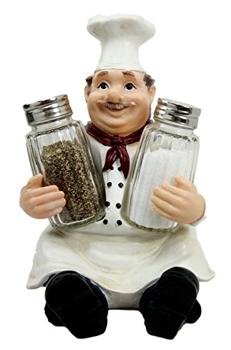 Ebros Italian Head Chef Mario Salt and Pepper Shakers Holder Figurine As Decorative Kitchen Dining Centerpiece Decor for Chefs Cooks Bistro Restaurant Themed Statue (Single)