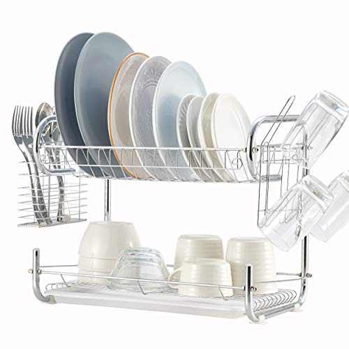 2 Tier Dish Rack, NATUROUS Dish Drying Rack Kitchen Organizer with Drain Board, Chrome