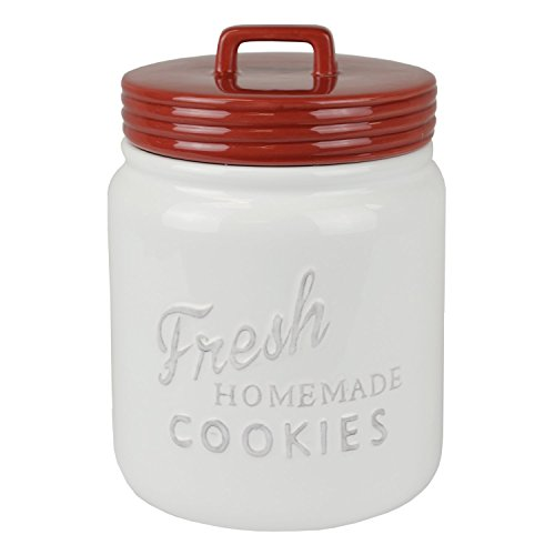 DII CAMZ35652 Vintage, Retro, Farmhouse Chic Mason Jar Inspired Ceramic Kitchen Canister, Cookie Jar With Airtight Lid For Food Storage, Store Cookies, Crackers, Chips and More - Red