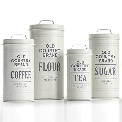 Barnyard Designs Decorative Nesting Kitchen Canisters with Lids White Galvanized Metal Rustic Vintage Farmhouse Country Decor for Flour Sugar Coffee Tea Storage (Set of 4) (Largest is 5.5 x 11.25 H)