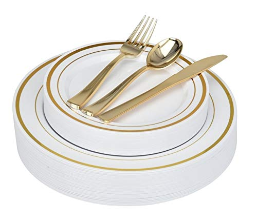 Fancy Disposable Plates with Gold Plastic Silverware - 125 Piece Gold Rim Plastic Party Plates and Cutlery for Wedding, Party, Baby Shower, Birthday, Holiday - Service for 25 Guests (Gold Rim)