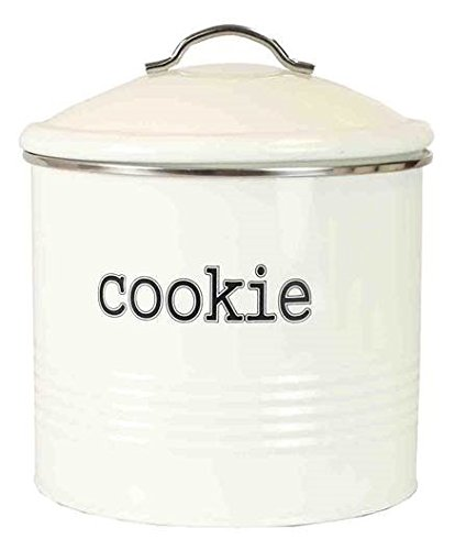 Home Basics Tin Kitchen Food Storage Organization Canister Collection (Cookie Jar with Cover, Ivory)