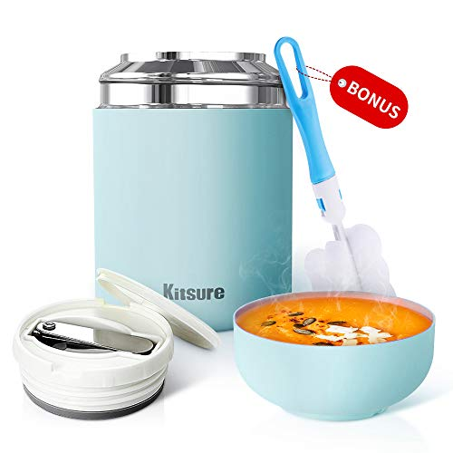 Kitsure 30 oz Thermos Food Jar, Leak Proof Vacuum Insulated Food Container for Hot Food, Stainless Steel Lunch Box for Kids & Adults with Folding Spoon, Compact Design & Maximizing Capacity Blue