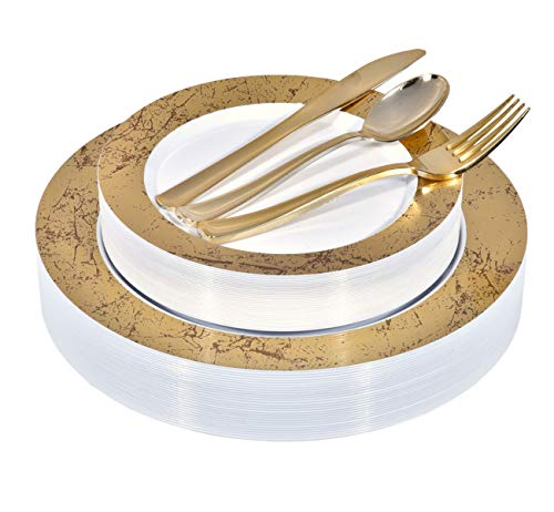Gold Marble Plastic Dinnerware (125-Piece) Plastic Plates, Plastic Forks, Plastic Knives, Plastic Spoons - Service for 25 Guests Fancy Place Setting for Wedding, Party, Baby Shower, Birthday, Holiday