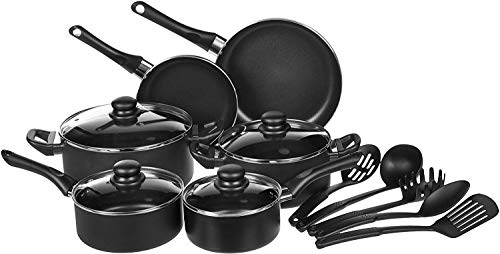 AmazonBasics 15-Piece Non-Stick Kitchen Cookware Set - Pots, Pans and Utensils