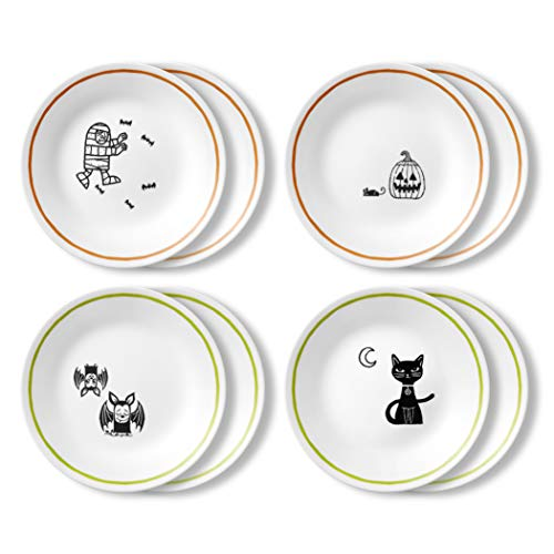 Corelle Chip Resistant Appetizer Plate, 8-Piece, Party Ghouls