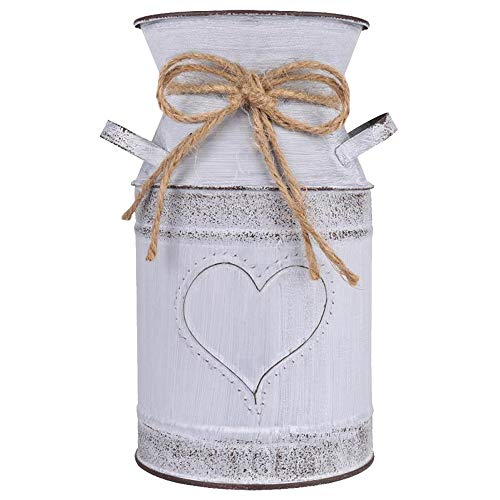 HIDERLYS 7.5' High Decorative Vase with Unique Heart-Shaped and Rope Design, Galvanized Finish- Rustic Decorated for Living Room, Bedroom, Kitchen (Grey)
