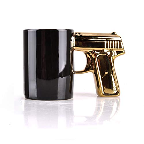 SIKOO Novelty Gun Mug Ceramic Coffee Mugs Pistol Cup Beer Mug Gift for Men,14 oz, Black & Gold