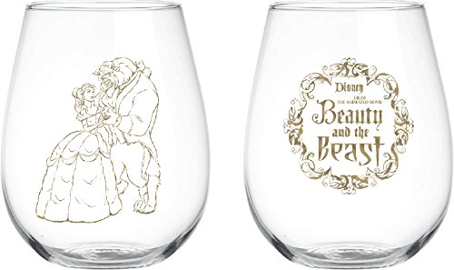Disney Classics Collectible Stemless Tumbler Glass Sets - 16 Ounces - Set of 2 (Beauty & The Beast)