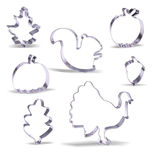 Large Fall Thanksgiving Cookie Cutter Set - 7 Piece - Stainless Steel