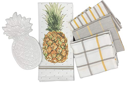 White Ceramic Pineapple Spoon Rest with Set of 4 Kitchen Dish Towels