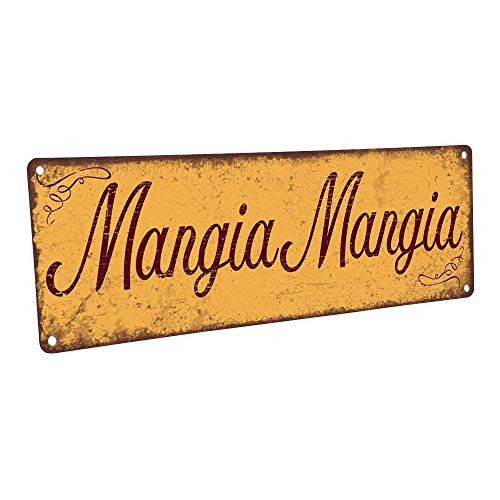 Mangia Mangia Metal Sign, 4x12, Italian, Kitchen, Food, Eating, Kitchen Decor, Dining, Home Decor