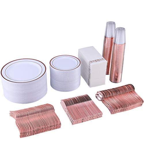 700 Piece Rose Gold Dinnerware Set-200 Gold Plastic Plates-300 Rose Gold Plastic Silverware-100 Rose Gold Plastic Cups-100 Disposable Hand Towel-Disposable Dinnerware for Halloween, Thanksgiving.