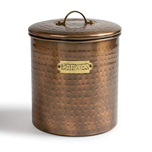 NuSteel Hammered Stainless Steel JAR, Cute Container, Decorative Kitchen Food Storage Holder for Cookies, Biscuits, and Baked Treats, with Rubber Seal lid, Copper Antique