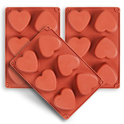 homEdge 6-Cavity Heart Silicone Mold, 3 Packs Heart Shape Molds for Making Handmade Soap, Chocolate, Soap Candles and Jelly-Brown