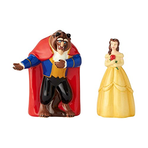 Enesco Disney Ceramics Beauty and The Beast and Belle Salt and Pepper Shakers, 3.5 Inch, Multicolor