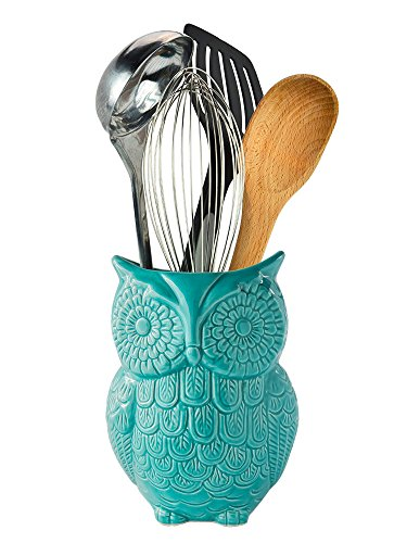 Comfify Owl Utensil Holder Decorative Ceramic Cookware Crock & Organizer, in Lovely Aqua Blue Color - Utensil Caddy and Perfect Kitchen Ceramic Dcor Gift - 5 x 7 x 4 Size