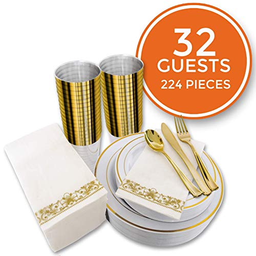 224 PCS Gold Disposable Dinnerware Set for 32 Guest. Gold Rimmed Plastic Dinner Plates with Gold Rimmed Cups Silverware and Napkins. Ideal for Parties, Weddings, Baby Showers, Thanksgivings.