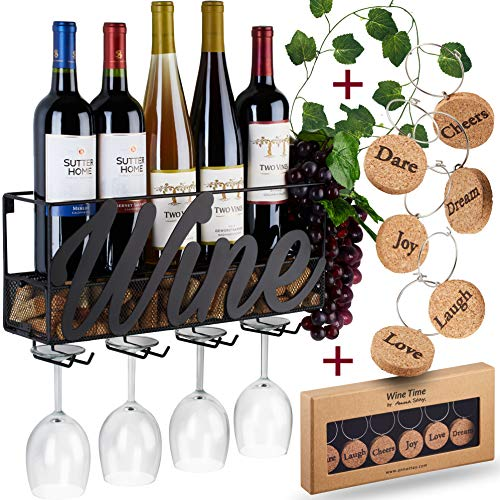 Wall Mounted Wine Rack - Bottle & Glass Holder - Cork Storage - Store Red, White, Champagne - Comes with 6 Cork Wine Charms - Home & Kitchen Dcor - Designed by Anna Stay, Wine