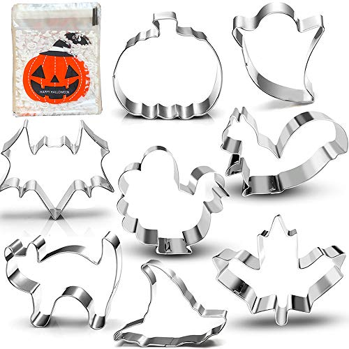 Halloween Thanksgiving Fall Cookie Cutter Set-3 Inches-8 Piece-Pumpkin, Turkey, Maple Leaf, Squirrel, Bat, Ghost, Witch Hat and Cat, with 100-Pack Cookie Candy Bag.