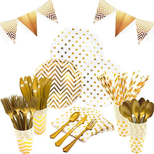 White and Gold Party Supplies Set - Services 24 | Gold Party Plates Baby Shower Plates | Disposable Dinnerware Set Includes Knives Spoons Forks Paper Plates Napkins Cups Banner for Birthday Wedding